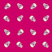 Seamless pattern with skull in vector