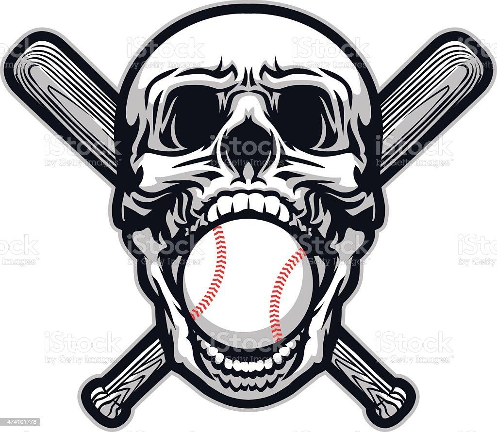 Skull Baseball vector art illustration