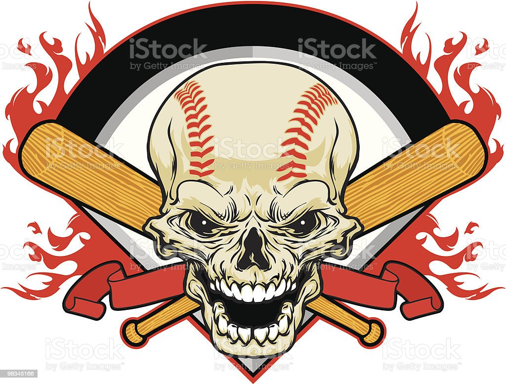Skull Baseball royalty-free stock vector art