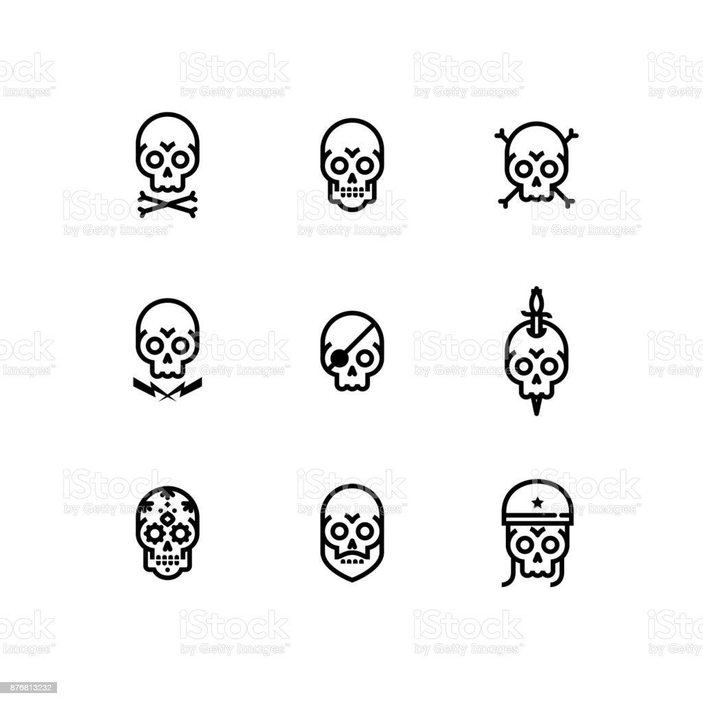 Schädel-Knochen-Kopf-Skelett Icon-Set – Vektorgrafik