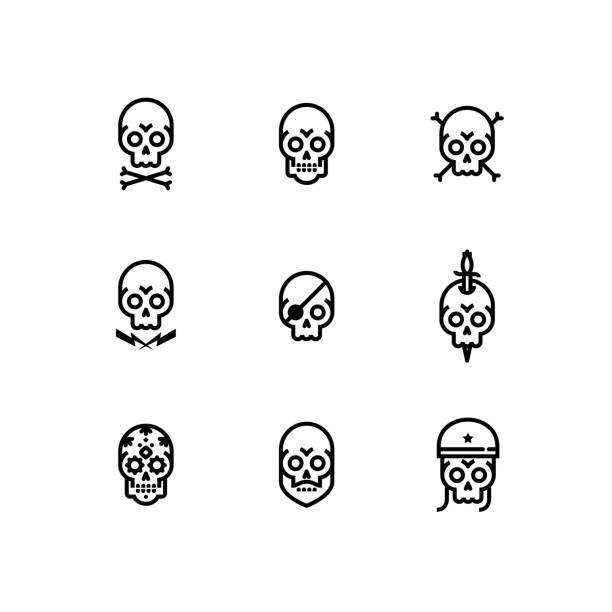 schädel-knochen-kopf-skelett icon-set - dolch tattoos stock-grafiken, -clipart, -cartoons und -symbole