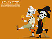 A skull boy and his little sister are traveling  in the Halloween night.