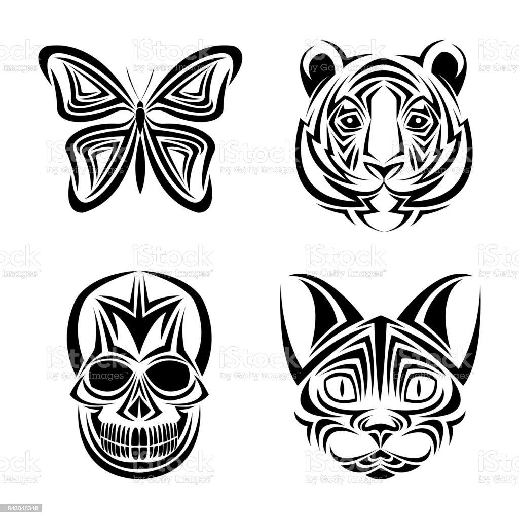 Skull Butterfly Tiger Cat Tattoo Design Stock Vector Art More