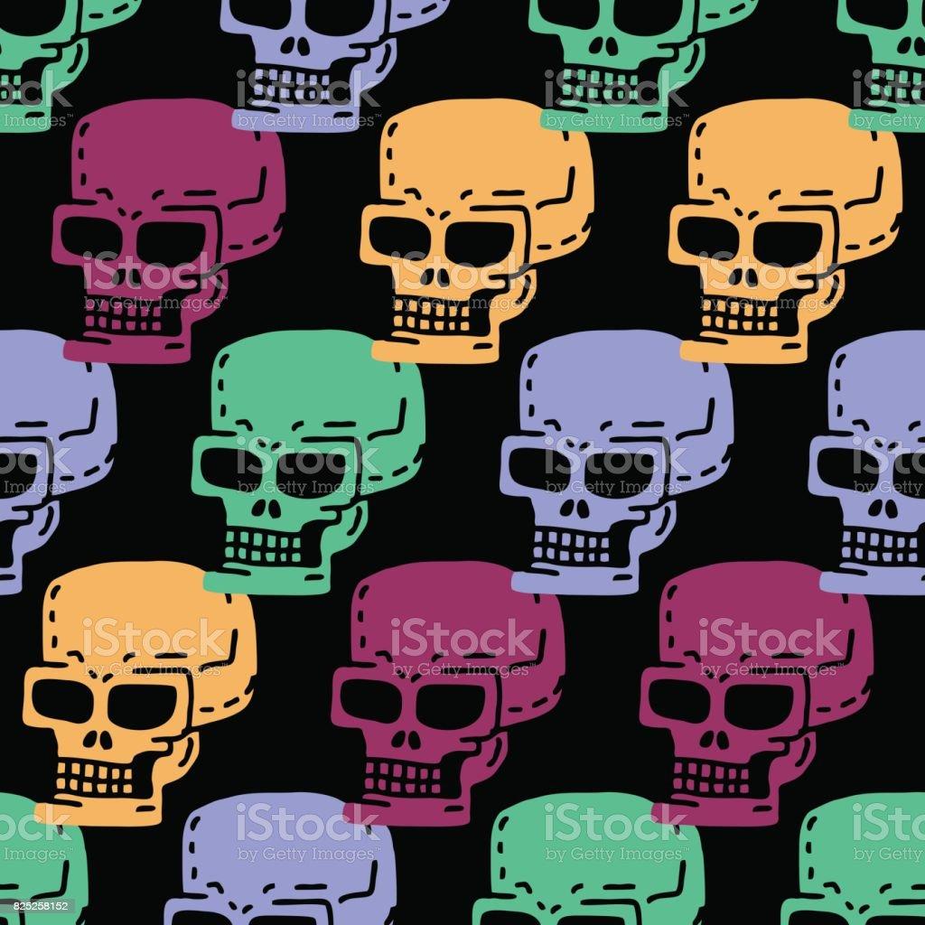 Kafatası Karikatür Seamless Modeli Iskelet Kafa Süs çizim Tıp Arka
