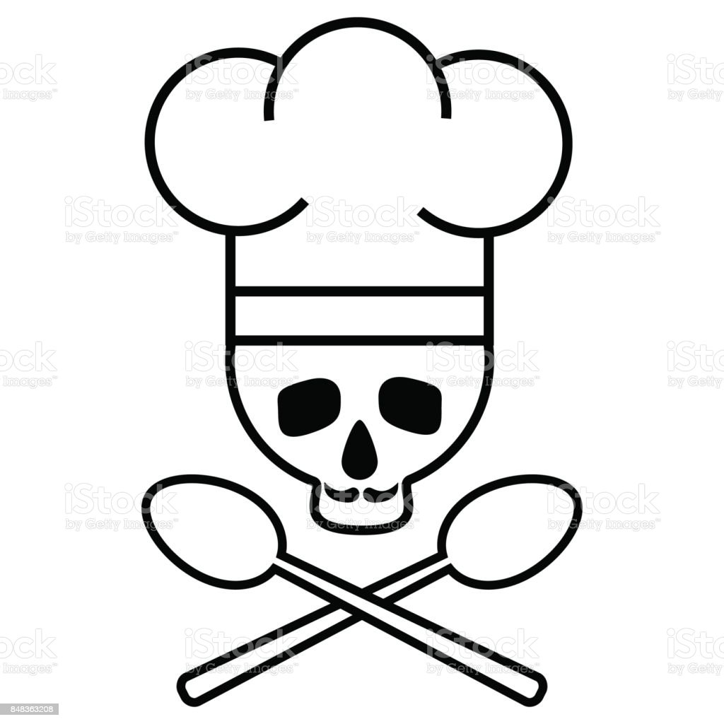 Skull Chef With A Mustache In A Chef S Hat With Crossed