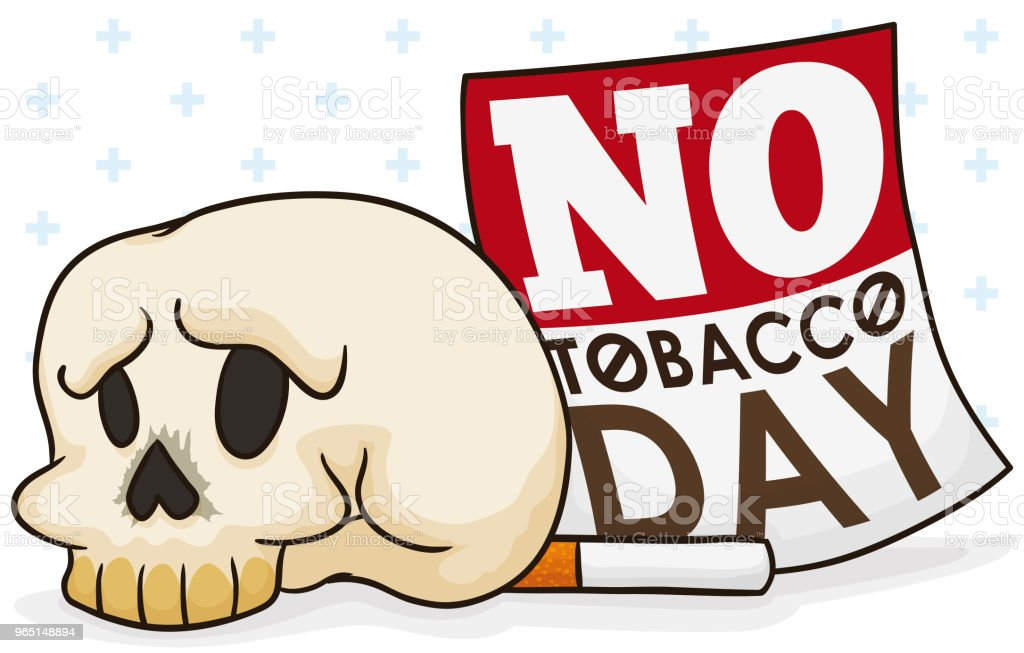 Skull, Cigarette and Loose-leaf Calendar Commemorating No Tobacco Day royalty-free skull cigarette and looseleaf calendar commemorating no tobacco day stock illustration - download image now