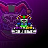 Illustration of Skull clown esport mascot logo