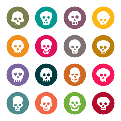 Skull colourful vector icons