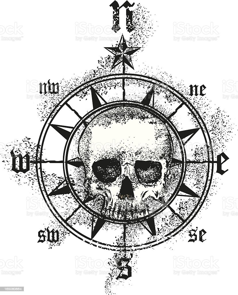 Compass Tattoo Line Drawing : Skull compass rose stock vector art more images of