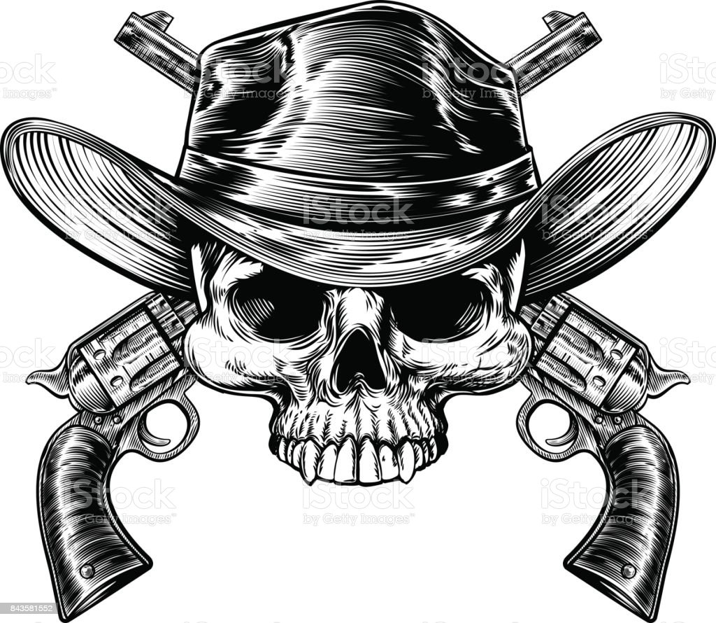 Totenkopf Cowboy und Pistolen – Vektorgrafik
