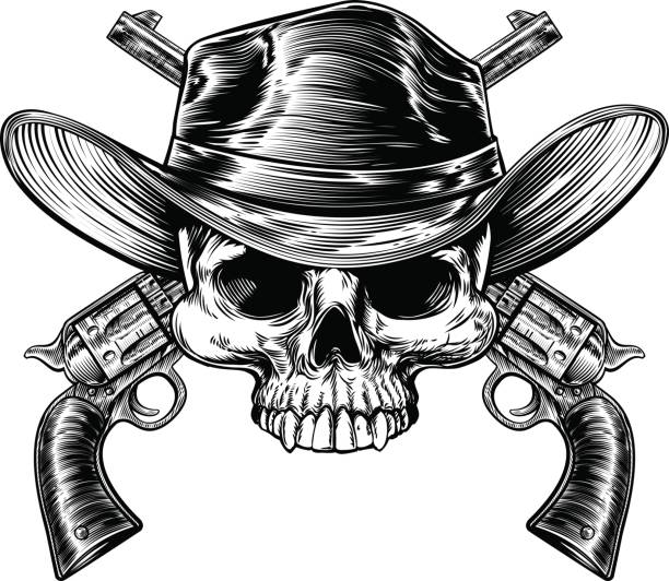 Drawings Easy Skull With Guns: Top Cowboy Skull Clip Art, Vector Graphics And