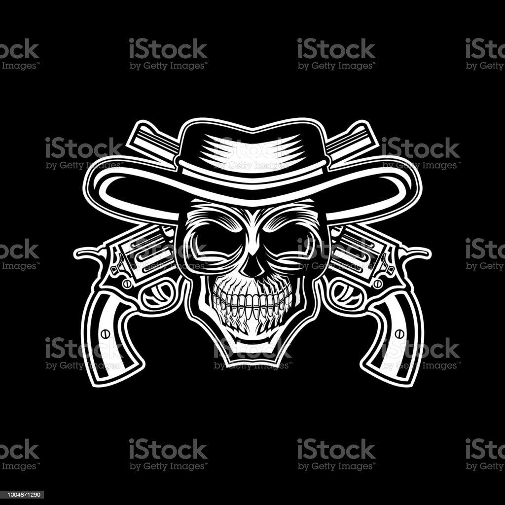 crânio cabeça chapéu de vaqueiro com cruz ilustração vetorial de arma  ilustração de crânio cabeça chapéu 6a04721ed4f