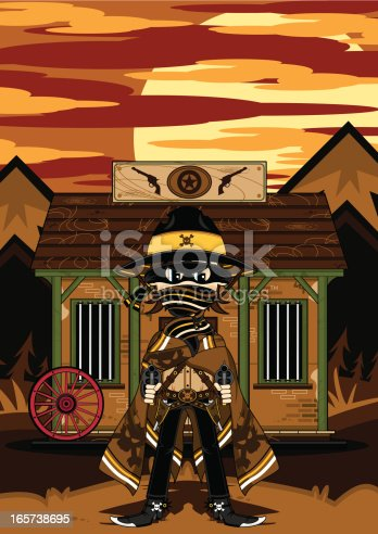 Vector Illustration of a Wild West Jail with Skull Outlaw Gunslinger Cowboy.