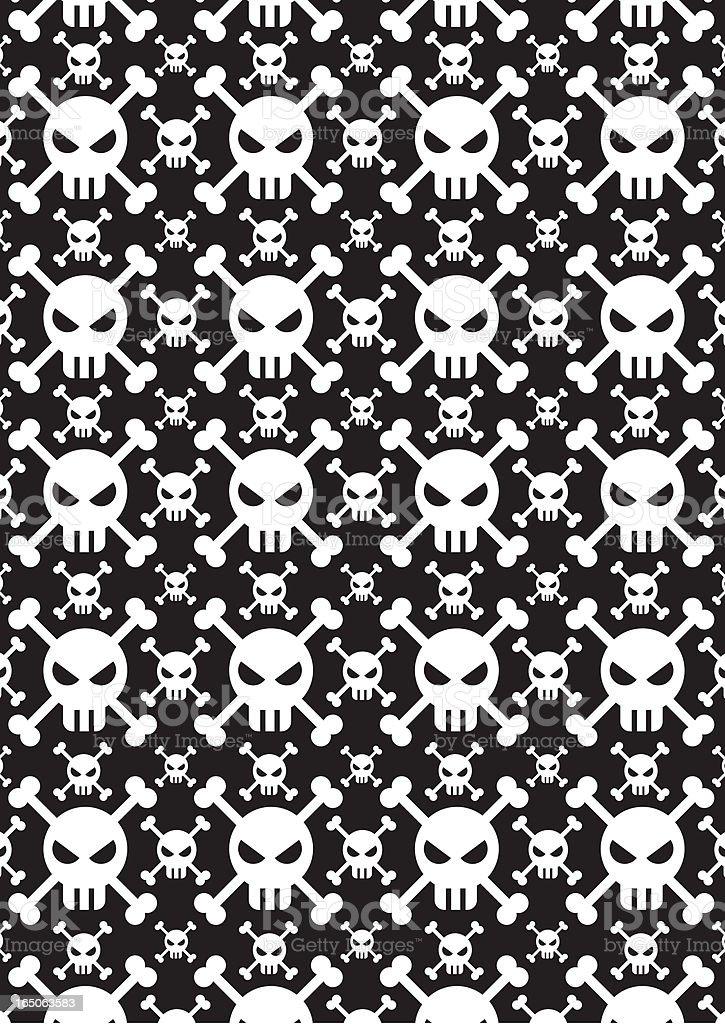 Skull & Crossbone Jolly Roger Repeat Pattern royalty-free stock vector art