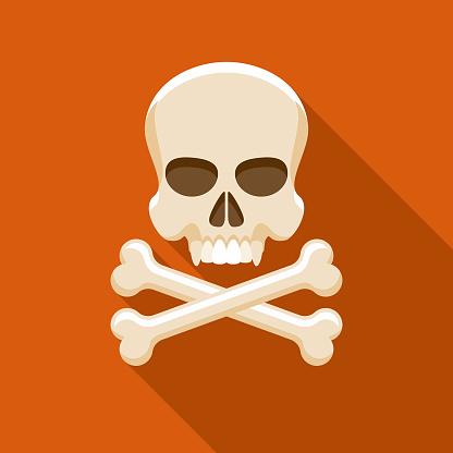Skull & Crossbones Flat Design Halloween Icon with Side Shadow