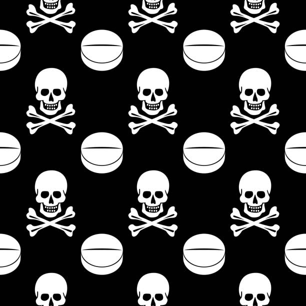 illustrazioni stock, clip art, cartoni animati e icone di tendenza di skull crossbones pills seamless pattern - antidolorifico