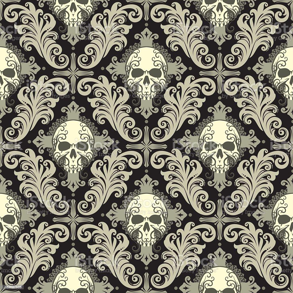 skull damask vector art illustration