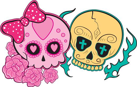 Skull Day of the dead party. Dea de los muertos.