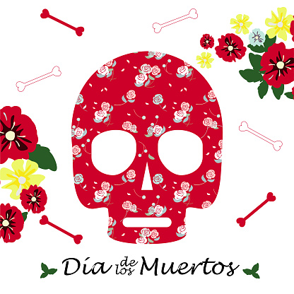 A skull decorated with flowers, bones and a Spanish inscription Dia de los Muertos. Day of the dead. Vector holiday illustration, postcard, banner. Red sugar skull with roses. Mexican tradition.