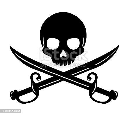 istock Skull emblem illustration with crossed sabers. 1159854434