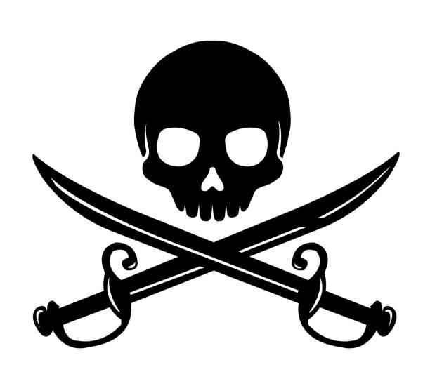 Skull emblem illustration with crossed sabers. vector art illustration