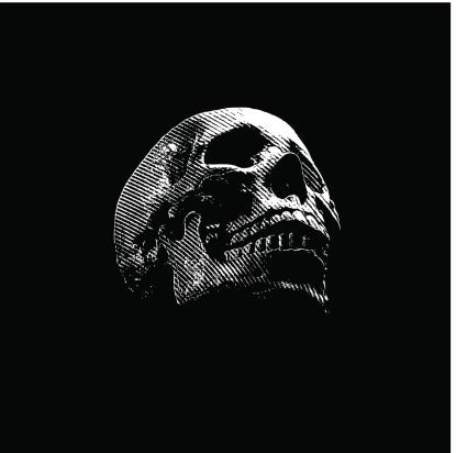 Skull Engraving On Black Background