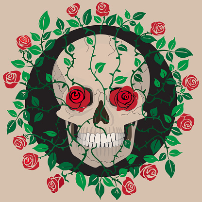 Skull entangled in red roses. Death theme, Mexican holiday of the day of the dead, gothic, romance.