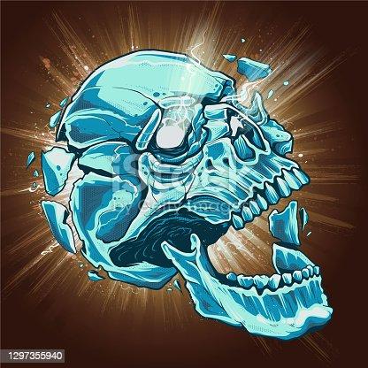 Skull Exploding Vector Art