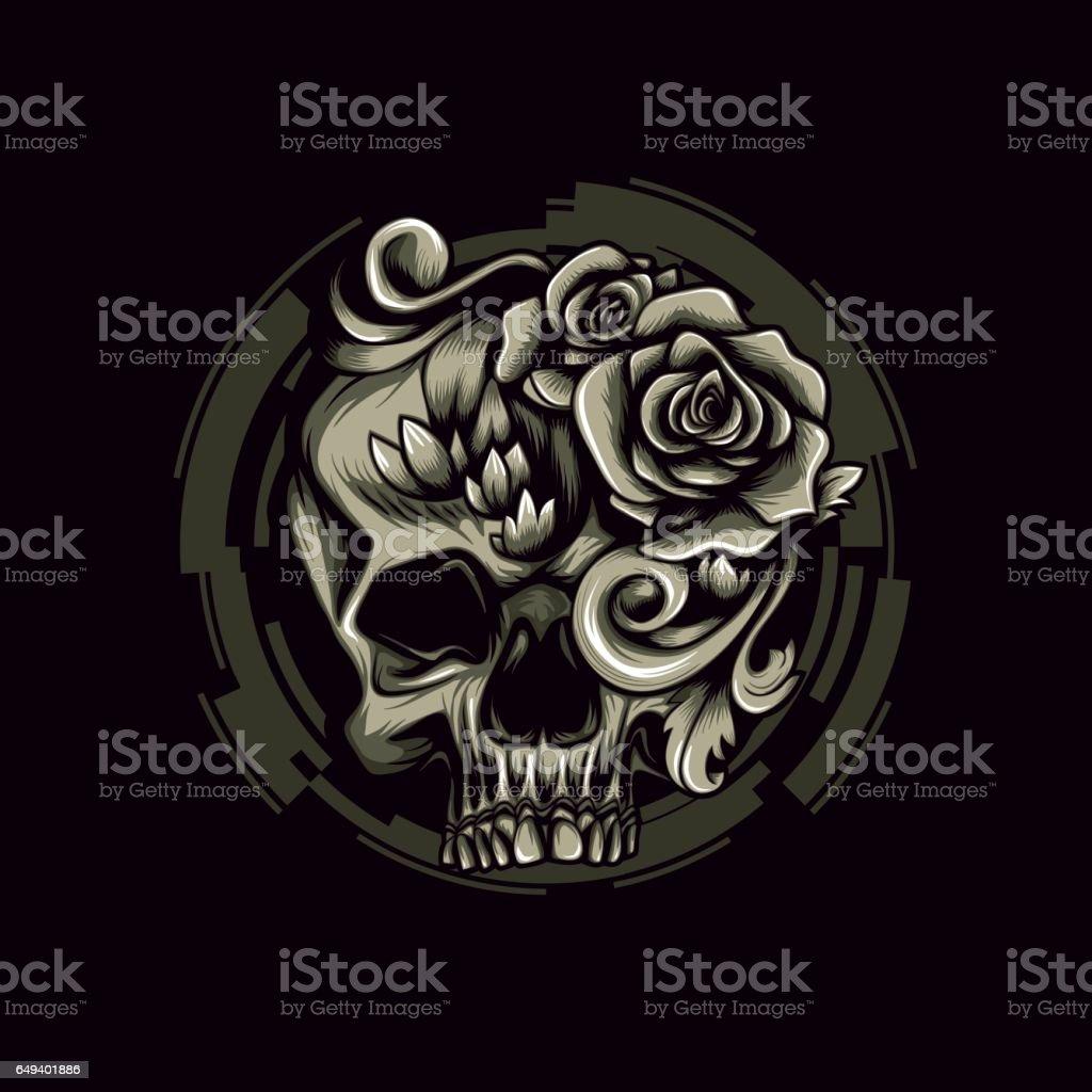 Skull Filigree Swirl Vintage Tattoo Fashion Print Urban Motif Design Royalty Free