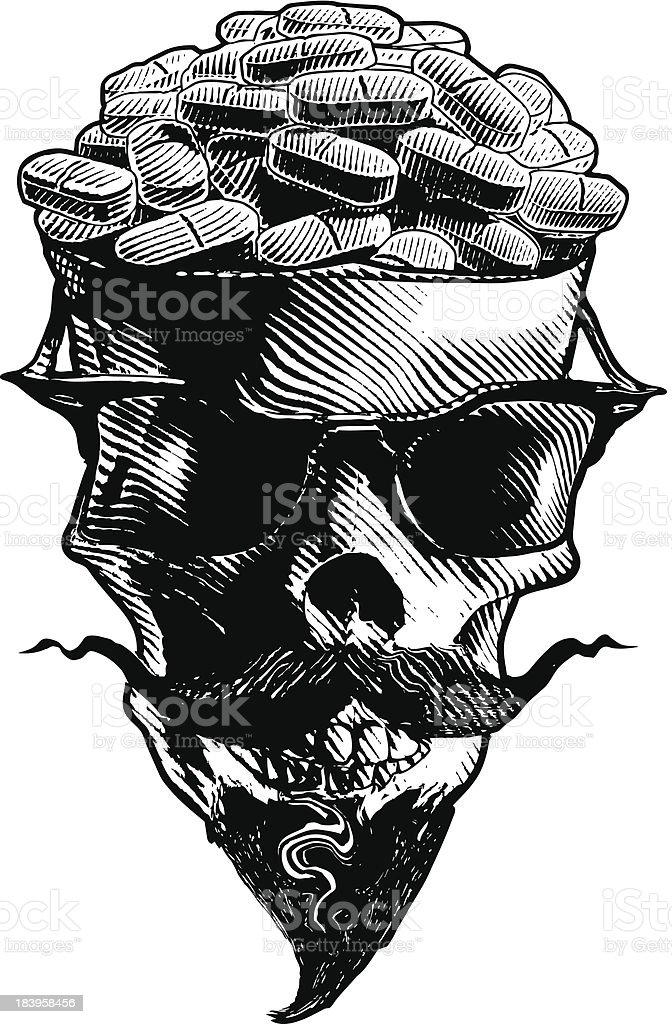 Skull Filled with Highly Addictive PainKillers royalty-free stock vector art