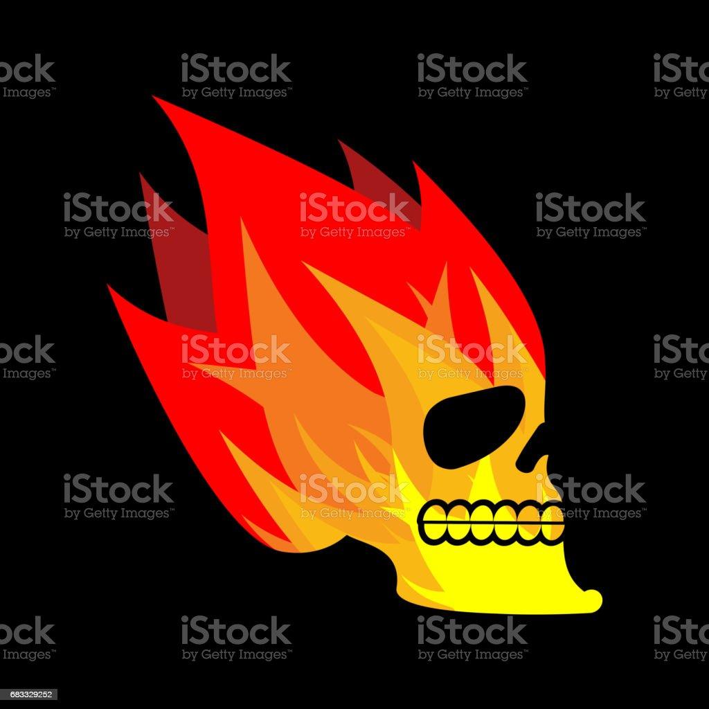 Skull fire. Head skeleton flame. flaming skull tattoo sign skull fire head skeleton flame flaming skull tattoo sign - immagini vettoriali stock e altre immagini di accendere (col fuoco) royalty-free