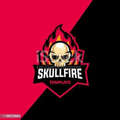 istock Skull Fire Sport Illustration Vector Template 1138528564
