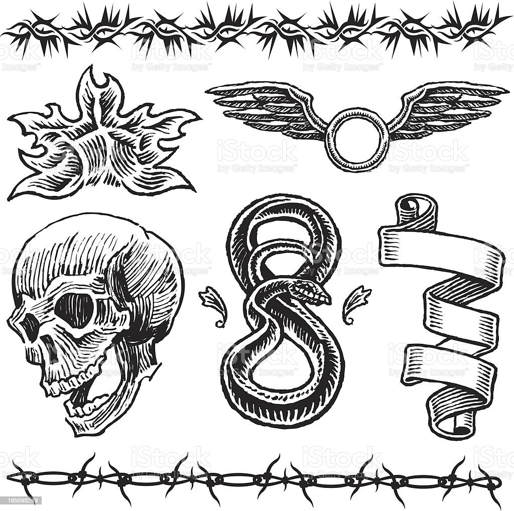 Skull Flame Snake Wings Barbed Wire Ribbon Tattoo Designs Stock ...