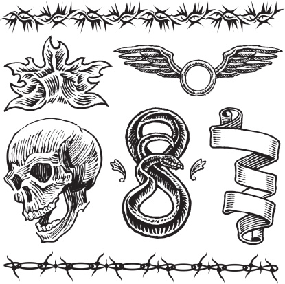 Skull, Flame, Snake, Wings, Barbed Wire, Ribbon Tattoo Designs