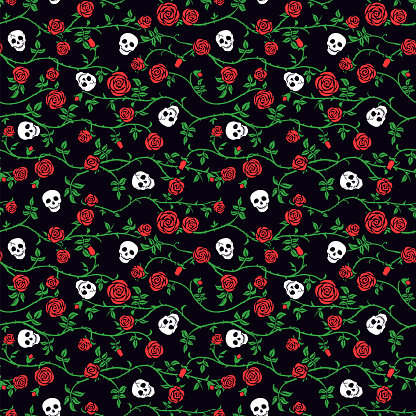 Skull floral seamless pattern with red climbing curly rose and thorn. Fabric dark flower background, vector.