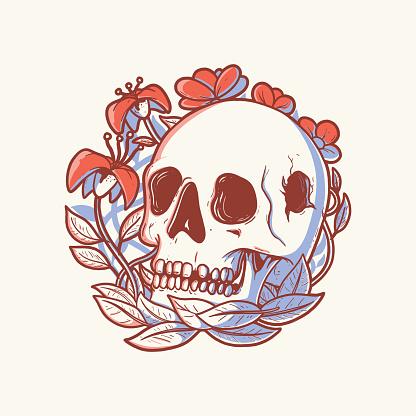 Skull Flower vector illustration.