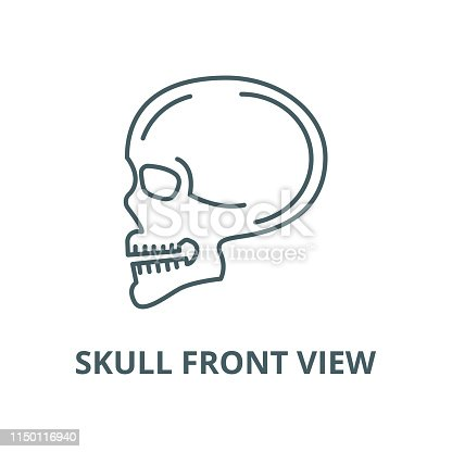 Skull front view vector line icon, outline concept, linear sign