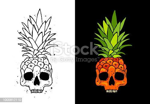 Skull fruit pineapple. Cute vector illustration. Tattoo concept.