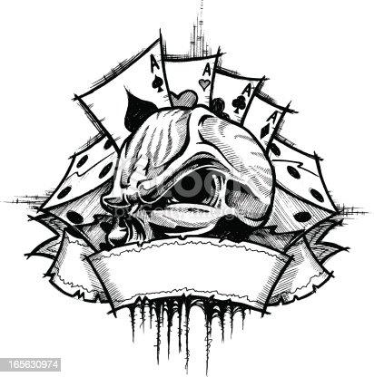 istock Skull Gambler B&W 165630974
