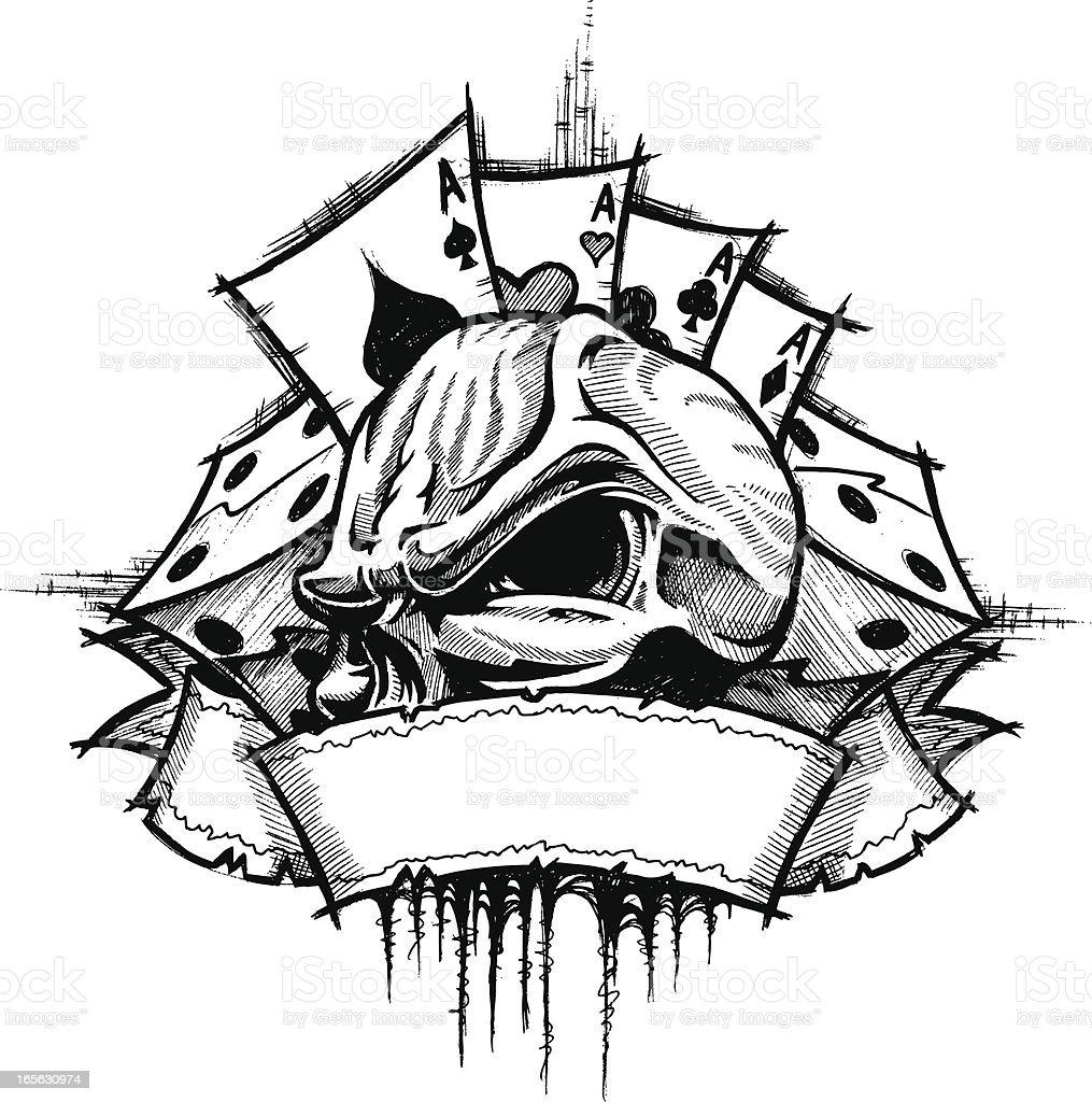 Skull Gambler B&W vector art illustration