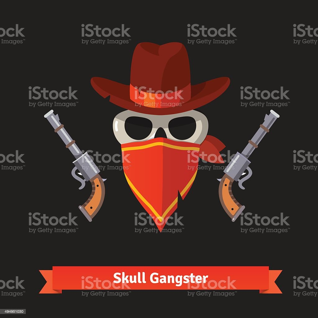Skull gangster in stetson hat with revolver guns royalty-free skull gangster  in stetson hat 65ecd142aabf