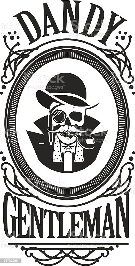 skull gentleman in the cylinder in a frame vector art illustration