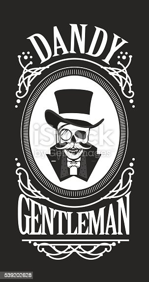 vector illustration of a skull wearing a hat cylinder gentleman in black and white vintage frame