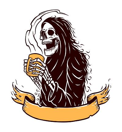 skull grim and coffe vector illustration