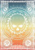 vintage poster with skull, and rainbow colors