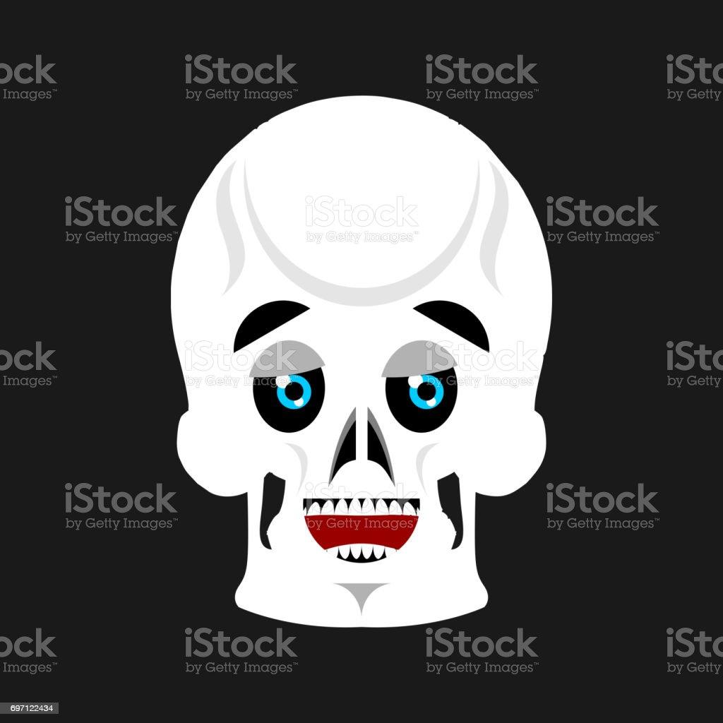 Schädel Glücklich Emoji Skelett Kopf Heiraten Emotion Isoliert Stock ...