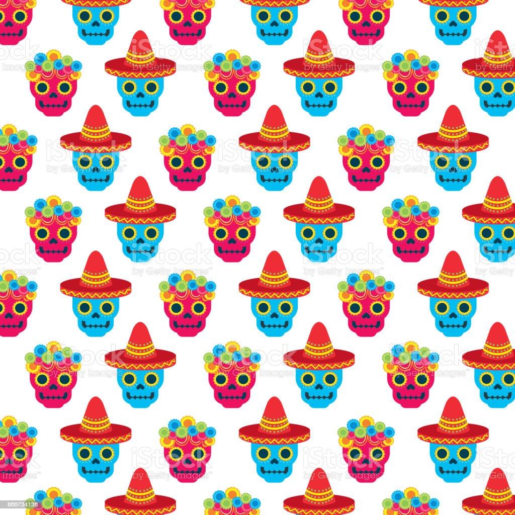 flor de chapéu de crânio no dia da imagem de papel de parede de cultura  mexicana 8ba0e20d168