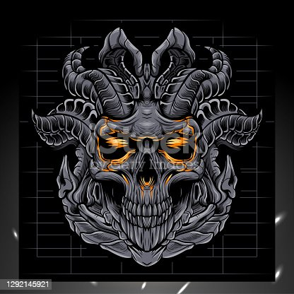 istock Skull head mascot, esport logo design 1292145921