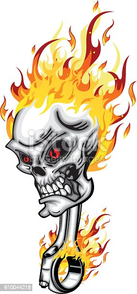 Skull Head Piston On Fire Red Eye With Flames Stock Vector