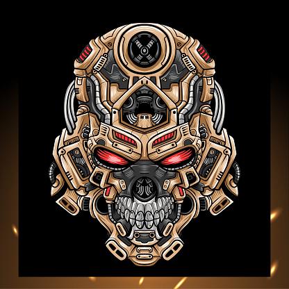 Skull head robot mascot. esport logo design